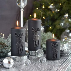 Stag Black Small Pillar Candle lifestyle