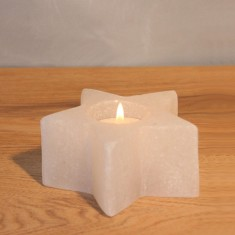 Star - White Rock Salt Tea Light Candle Holder Lifestyle