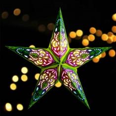 'Sumita' Green Glitter - Large Paper Star Light lit