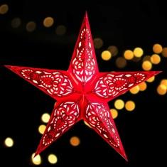 'Sumita' Red Glitter - Large Paper Star Light lit