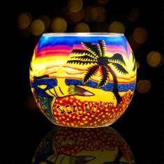 Sunset Beach - Glowing Globe Glass Tea Light Candle Holder lit