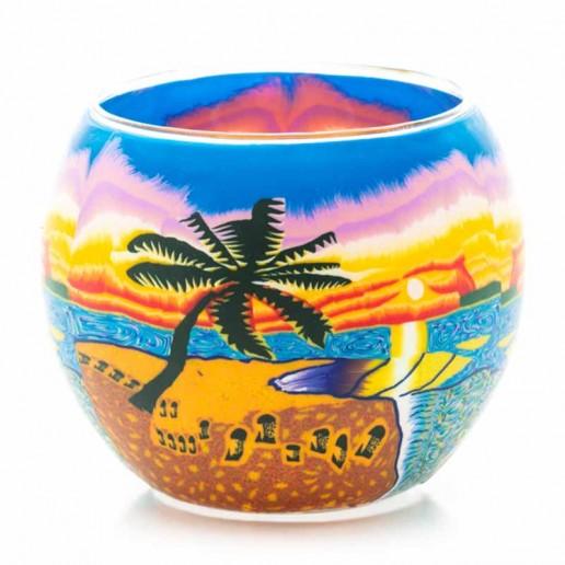 Sunset Beach - Glowing Globe Glass Tea Light Candle Holder small.jpg
