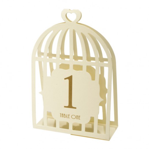 Table Numbers 1-15 Laser Bird Cage - Ivory