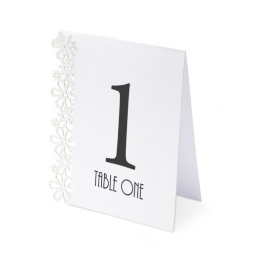 Table Numbers 1-15 Laser Flower - White