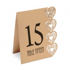 Table Numbers 1-15 Laser Heart - Brown