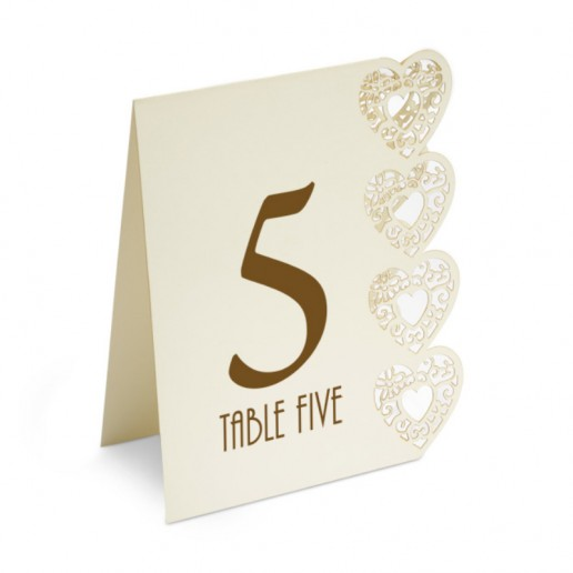Table Numbers 1-15 Laser Heart - Ivory