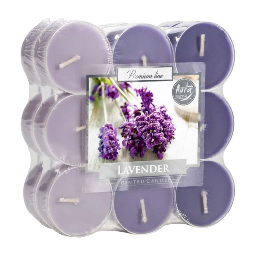Tea Lights 18pk Floating Candles In Clear Cup - Lavender