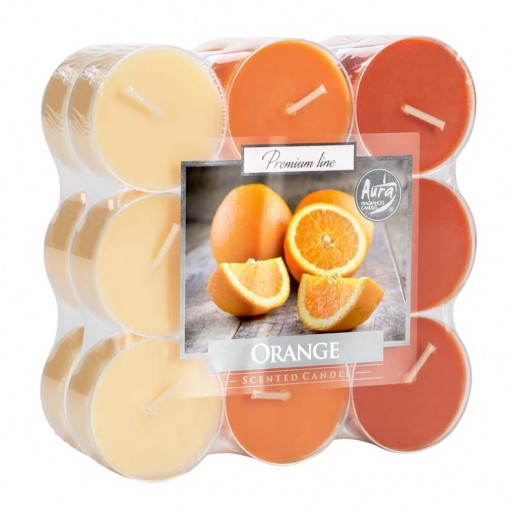 Tea Lights 18pk Floating Candles In Clear Cup - Orange