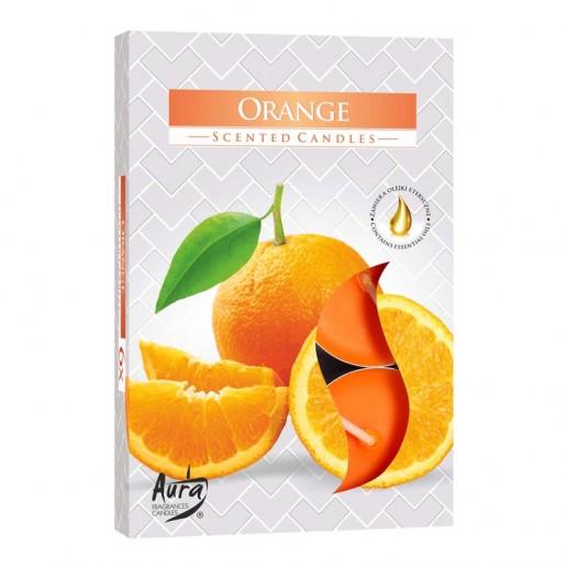 Tea Lights 6pk - Orange