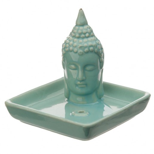 Thai Buddha Sq Incense Stick & Cone Burner Ashcatcher - Aqua