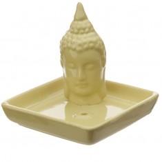 Thai Buddha Sq Incense Stick & Cone Burner Ashcatcher - Mustard