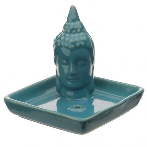 Thai Buddha Sq Incense Stick & Cone Burner Ashcatcher - Teal