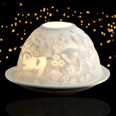 Three Little Kittens - Glowing Dome Porcelain Tea Light Holder