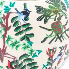 Tropical Birds detail - Glowing Globe Glass Tea Light Candle Holder