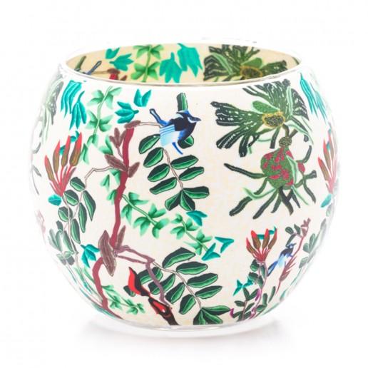Tropical Birds - Glowing Globe Glass Tea Light Candle Holder