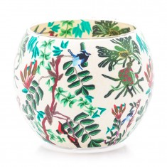 Tropical Birds - Glowing Globe Glass Tea Light Candle Holder