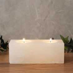Twin Cube - White Rock Salt Tea Light Candle Holder Lifestyle