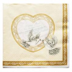 Two Doves Ivory Wedding Paper Napkins 20pk