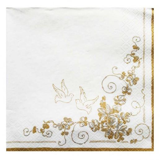Two Doves White Wedding Paper Napkins 20pk
