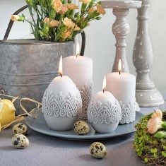 Velvet Finish With Lace Easter Egg Candle Decoration lifestyle
