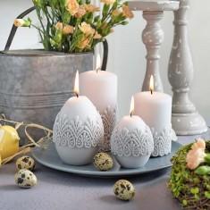 Velvet Finish With Lace Easter Egg Candle Decoration lifestyle