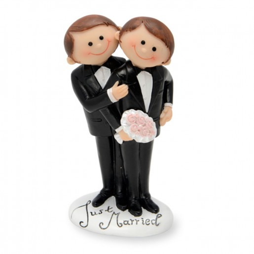 Wedding Cake Topper Funny Character Gay Couple white