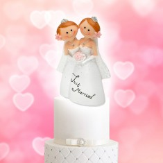 Wedding Cake Topper Funny Character Lesbian Couple