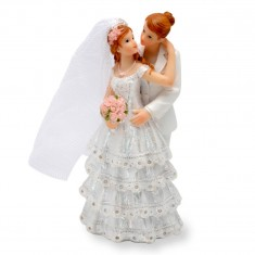 Wedding Cake Topper Lesbian Couple Dress-Suit white