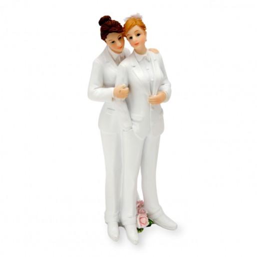Wedding Cake Topper Lesbian Couple Suit-Suit white