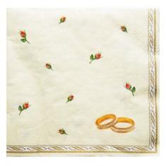 Wedding Rings Ivory Paper Napkins 20pk