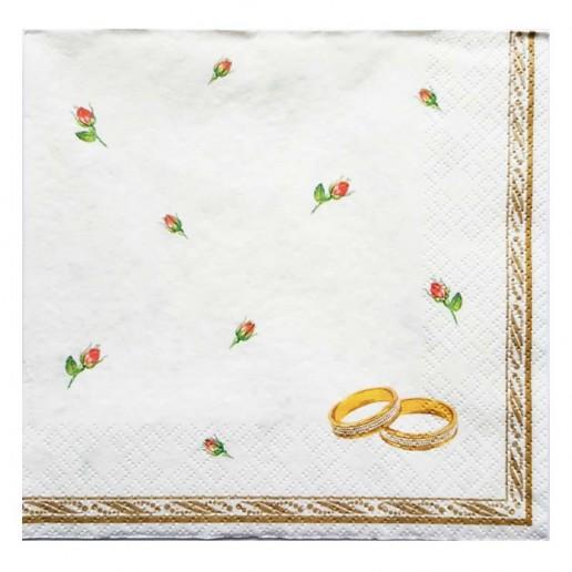 Wedding Rings White Paper Napkins 20pk