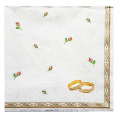 Wedding Rings White Paper Napkins 20pk
