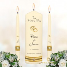 Wedding Unity Candles Ivory - 'Gold Trio'
