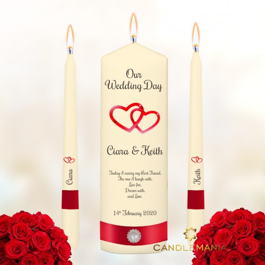 Personalised Wedding Unity Candles Love Hearts Design Red.jpg