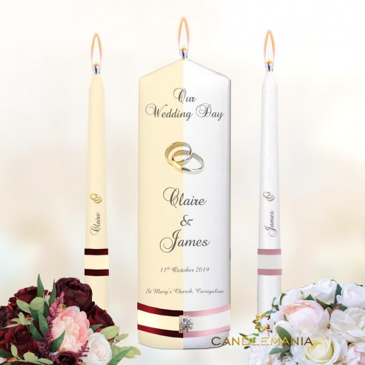 Wedding Unity Candles White or Ivory - Rings