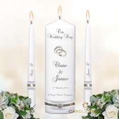 Wedding Unity Candles White - 'Silver Trio'