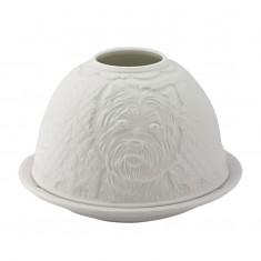 Westie - Glowing Dome Porcelain Tea Light Holder front