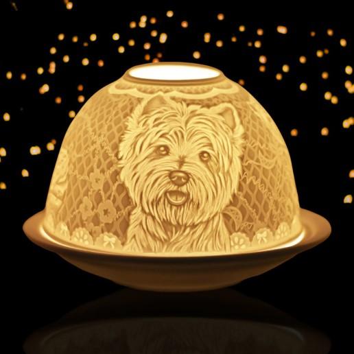 Westie - Glowing Dome Porcelain Tea Light Holder