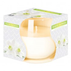 White Flowers - Scented Candle in Glass Best Smelling Cheap Sale Discounts