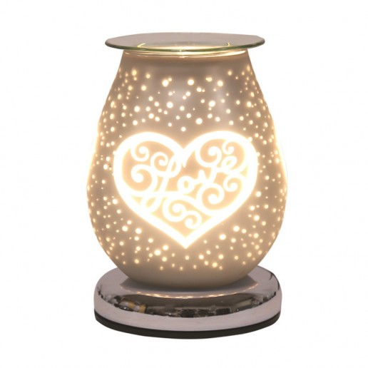 White Satin Heart - Electric Wax Melt Burner lit
