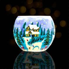 Winter - Glowing Globe Glass Tea Light Candle Holder lit