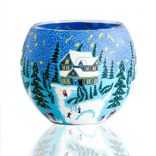 Winter - Glowing Globe Glass Tea Light Candle Holder detail
