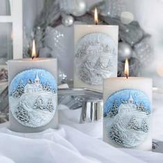 Winter Landscape Elliptical Handmade Candle lifestyle