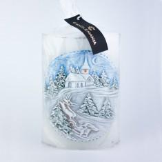 Winter Landscape Elliptical Handmade Candle wrapped