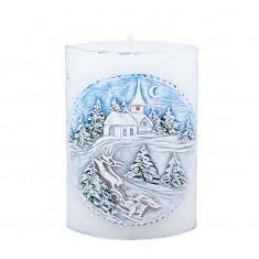 Winter Landscape Elliptical Handmade Candle