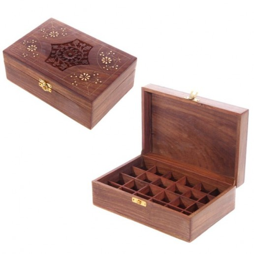 Wooden Box For Essential Oils 24 open and closed