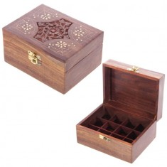 Wooden Box For Essential Oils x12 open and closed