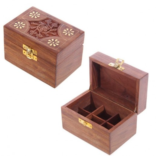 Wooden Box For Essential Oils x6 open and closed