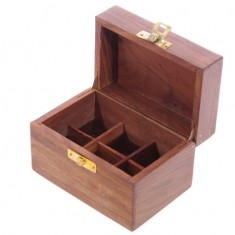 Wooden Box For Essential Oils x6 open