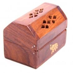 Wooden Incense Cone Burner Box Elephant angle